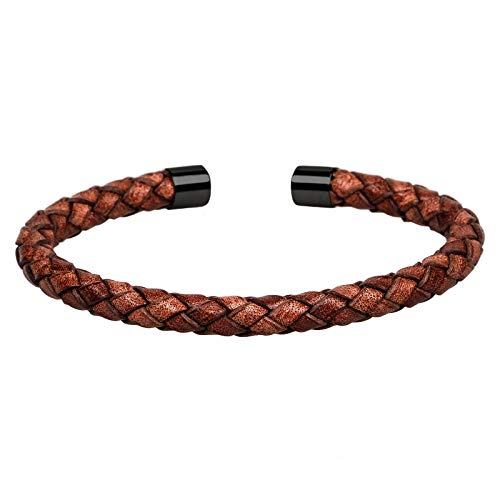 Mendozza Herren Armreif Leder Armband Edelstahl Braun-Black ()
