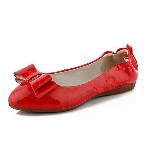 AllhqFashion Femme Couleur Unie Pu Cuir à Talon Bas Tire Rond Chaussures à Plat Rouge
