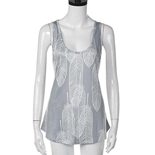 Débardeurs Femme, Yogogo Femmes été Plume imprimée Chemises sans manches Décontractée T-shirt manches longues Gris