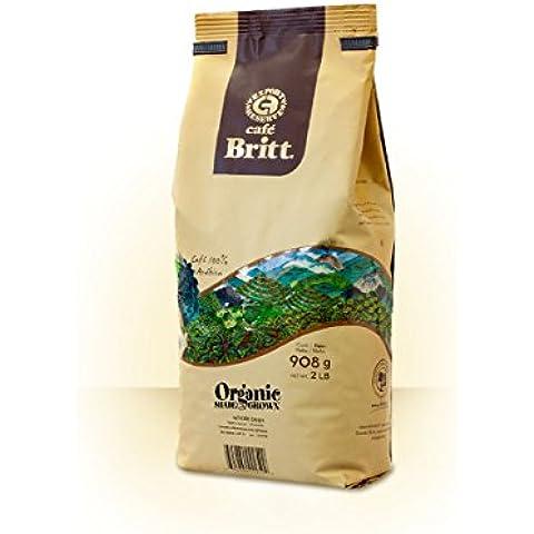 Café Britt Costa Rica Orgánico Bajo Sombra Grano Entero, Paquete de 908 g