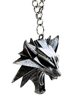 Herren Anhänger, Motiv: The Witcher 3Wild Hunt Wolfskopf Medaillon, Videospiel-Merchandise