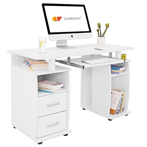 COMIFORT T05B - Mesa de Ordenador, Escritorio, Mesa de Oficina, 115x55x85 cm, Color Blanco