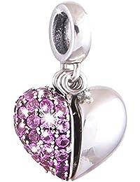 De 'lageo, libre Stopper Bead con 925plata de ley con camafeo de corazón cuenta para pulsera.