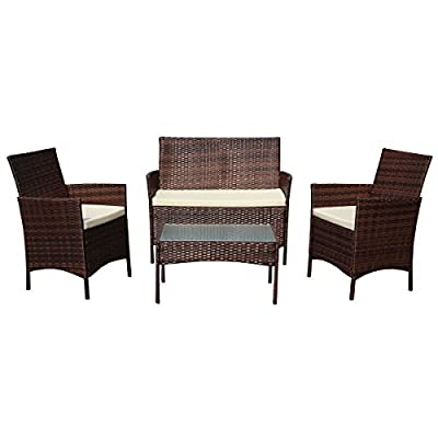 SVITA Brooklyn Gartenmöbel Poly Rattan Sitzgruppe Essgruppe Set Sofa-Garnitur Lounge Braun, Grau Oder Schwarz