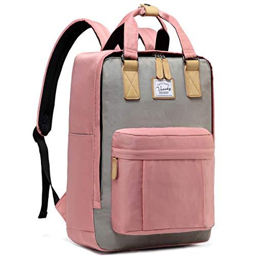 Schulrucksack Mädchen Teenager, VASCHY Wasserabweisend 15 Zoll Laptop Schulranzen Vintage Rucksack für Damen Hochschule Schultasche Casual Daypack Reiserucksack(Rosa und Grau)