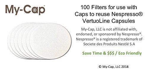 my-cap 100Papier Filter für Gebrauch mit Kappen zur Wiederverwendung Kapseln für Nespresso vertuoline Brauer