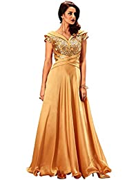Khwaab Fusion Cross Golden Stitched party wear designer evening Gown(New  Western wear Designs) 5673e077f