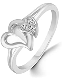 Classic Couple Heart Diamond Studded Rhodium Plated Alloy Cz American Diamond Finger Ring For Women & Girls [CJFR1265R]
