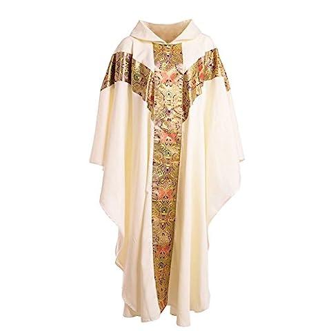 Blessume Prêtre Celebrant Chasuble Église catholique Père Masse Vestments Robe avec broderie Blanc
