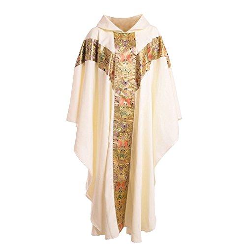 essgewand katholisch Kirche Vater Masse Gewänder Robe mit Stickerei Weiß (Priester Robe Für Erwachsene)