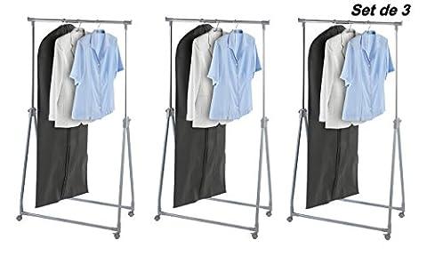 Mabi 3-309 Design-Kleiderständer Toppy 3er Pack L89 x B46 x H99-167 x T11 cm Roll-, klapp-, stufenlos höhenverstellbar Anwendungsbereich In - Outdoor - Home - (Schutzhülle Für Kleiderständer)