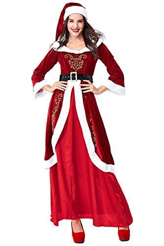 RedJade Damen Weihnachtskleid Weihnachtsmann Gerichtskleid Kostüm Miss Santa Cosplay Kostüm, Langes Kleid Rot ()