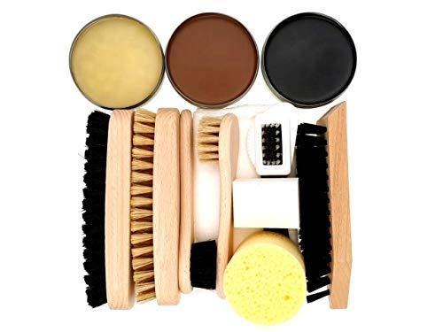 DELARA 11-teiliges Schuhputz-Set mit drei Dosen Intensiver Lederpflege, Holzbürsten mit Naturborsten und einem Schwamm