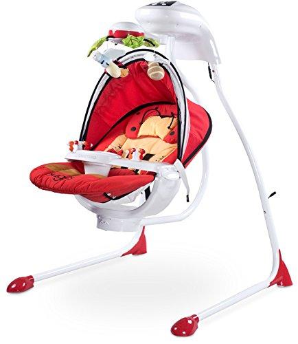 CARETERO Bugies Babyschaukel Babywippe Schaukelwippe drehbarer Sitz Timer elektronisches Mobile mit Lichern, Red