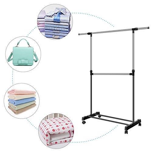 Fantiff Adjustable Extendable Single Clothes Garment Drying Hanging Racks Hangers with Castors and Shoe Rack Couscouskocher