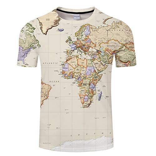 rt Weltkarte T-Shirt Druck 3D T-Shirt Harajuku Outfit Tees Top Sommer Stil Lustige Grafik T-Shirt Asiatische Größe 6XL ()
