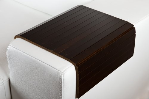 moebelhome Sofatablett ~ Armlehnen Ablage Tablett BRAUN Armlehnenschoner Massiv-Holz -