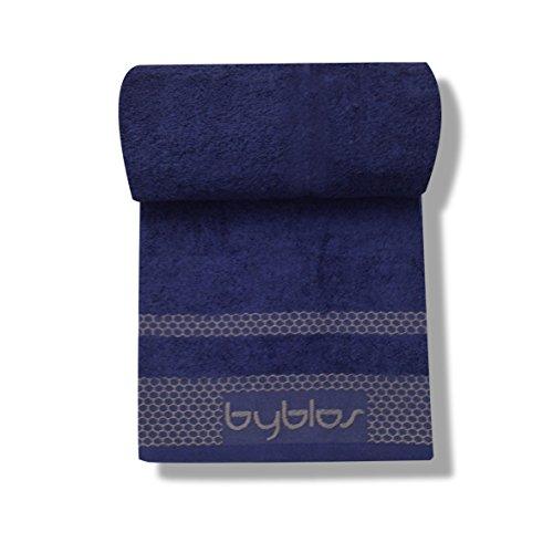 Byblos Derby Telo Bagno, 100% Cotone, Blu, 100x1x150 cm