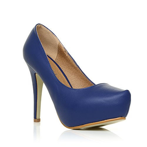 ShuWish UK - Chaussures Bleu Marine Stiletto en Cuir PU haut Talon Compensé H251 Bleu marine PU