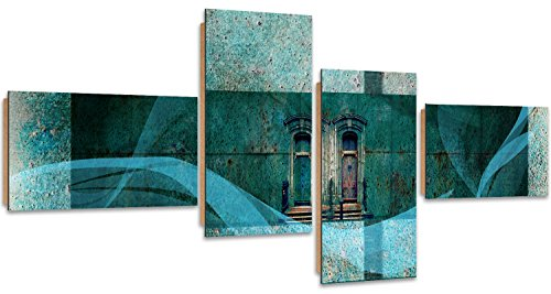 Feeby Frames, Tableau mural - 4 parties - Tableau Déco, Tableau imprimé, Tableau Deco Panel, Type Z, 160x80 cm, ABSTRACTION, COLLAGE, PORTES, RECTANGLE, TURQUOISE, VERT