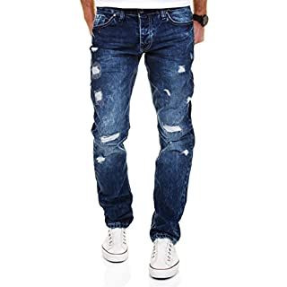 Amica by Merish Men's Jeans Straight Fit Blue Jeans Destroyed -  Blue -