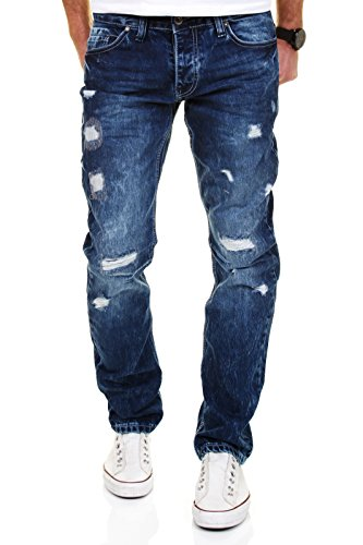 AMICA by MERISH Herren Jeans Straight Fit Destroyed Blue Jeans J1154 Dunkelblau 33/32