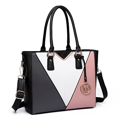 - 41Ii6XY 2BaRL - Miss Lulu Leather Look V Shape Multicolour Tote Handbag (Black/White/Nude)
