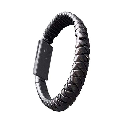 AJIAO USB-Armband Kabelgeflochtene Armbänder & Amp;Armreifen Punk Handy USB Ladekabel Leder Armband Schmuck Für Männer Frauen -