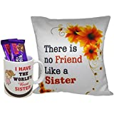 Natali Gift For Sister - Printed Cushion Cover With Filler, Coffee Mug & 2 Chocolate
