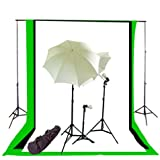 CowboyStudio Komplette Fotografie/Video Studio Dreibettzimmer Lighting Kit (10x12 Background Support System, Muslin Backgrops: schwarz/weiß/grün)