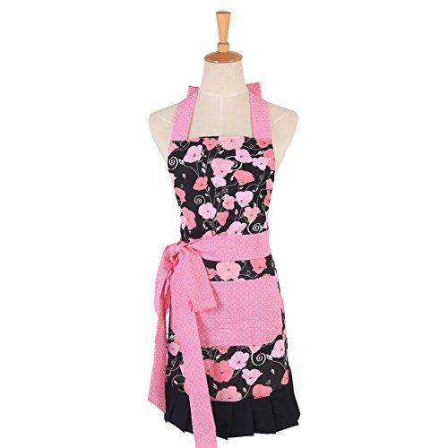 Cute Beautiful Patterns, cucina ristorante cucina Chef-Grembiule con due anteriore grande regalo per moglie o da donna (rosa floreale)