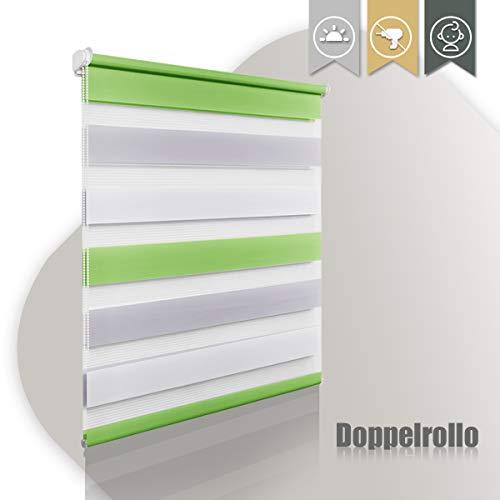 Duo Rollo klemmfix ohne Bohren Doppelrollo Sicht & Sonnenschutz Klemmrollo Rollos für Fenster und Tür in Grün-grau-weiß 80x150(BXH)