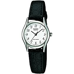 Casio Women's Quartz Watch with White Dial Analogue Display and Black Leather Strap LTP-1154PE-7BEF