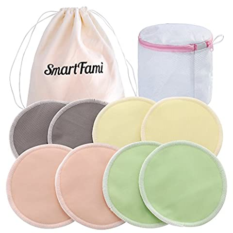 Best Washable Organic Bamboo Nursing Pads(8 Pack) with Laundry and Cloth Bag by SmartFami,Reusable Breast Pads,Ultra Soft,Waterproof,Leakproof Bra Pads,Absorbent,Hypoallergenic,Breastfeeding Pads