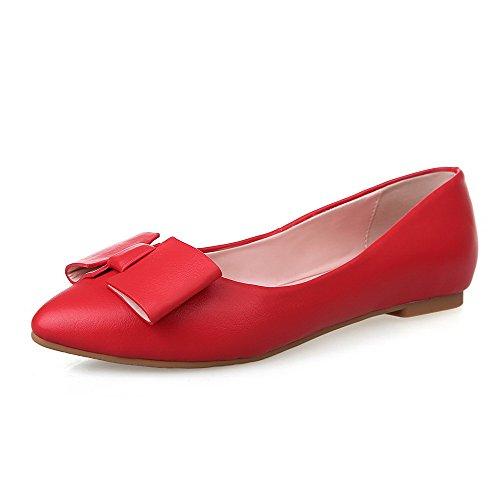 VogueZone009 Donna Tirare Senza Tacco Luccichio Puro Ballerine Rosso