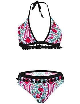 ALIKEEY Conjunto ♈ De Bikini Borla ImpresióN Las Mujeres Atractivas Push-Up Sujetador Acolchado Traje BañO Fn338...