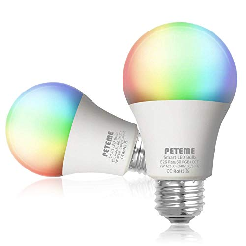 Smart WLAN LED Lampe Glühbirnen Peteme E26 Birne RGB Wifi Bulb mit Mehreren Farben Glühbirne 800LM, steuerbar via App dimmbare, kompatibel mit Alexa Echo, Echo Do 2Pack