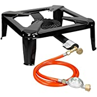 ECD Germany Gas Stove Cast Iron Bench Cooker Gas Camping Stove Portable with 4 Legs + 150 cm Gase Hose and Regulator