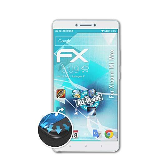 atFolix Schutzfolie passend für Xiaomi Mi Max Folie, ultraklare & Flexible FX Bildschirmschutzfolie (3X)