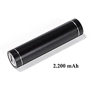 Runde Powerbank aus Metall schwarz 2200 mAh
