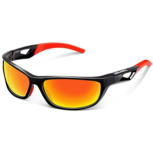 TSAFRER Sport Sonnenbrille Polarisierte Sportbrille Fahrradbrille mit UV400 Schutz für Damen und Herren Autofahren Laufen Radfahren Angeln Golf TR90 (Black-Red)
