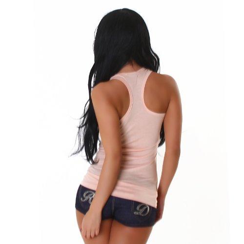 Damen Top Shirt Tanktop Sommer Party Sport Schwarz elegant lässig sexy Rosa