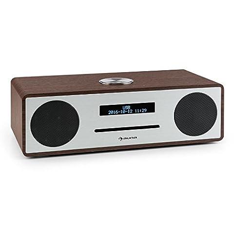 auna Stanford • Digitalradio • DAB+ / UKW-Tuner • dimmbares LED-Display • RDS-Funktion • Radiowecker • MP3-fähiger USB-Port • Slot-In CD-Player • Bluetooth 3.0 • programmierbarer Wecker • 2 Line-Eingänge • Bassreflexgehäuse • Fernbedienung • braun
