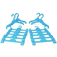HANGERWORLD 30 30cm Childrens Plastic Wardrobe Set 10 Trouser Clips and 20 Top Coat Clothes Hangers.