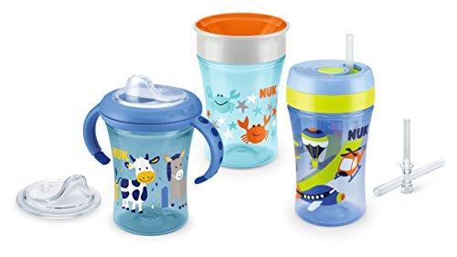 NUK 10225154 Trinklern Set Boy, Geschenkbox mit Starter, Magic und Fun Cup, Mehrfarbig (blau/ dunkelblau)