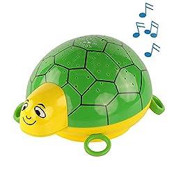 ANSMANN Sternenlicht Projektor - Schildkröte Nachtlicht mit Musik & Sternenhimmel Projektor ideal als Einschlafhilfe für Baby & Kinder - LED Schlummerlicht mit Farbwechsel als Kinderzimmer Deko