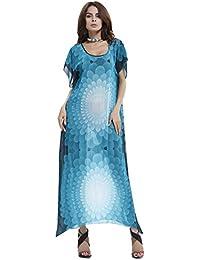 COCO clothing Kleider Damen Sommer Blumendruck Strandkleider Fashion lang  kleider Fledermausärmel Casual Loose 22c4870f7f