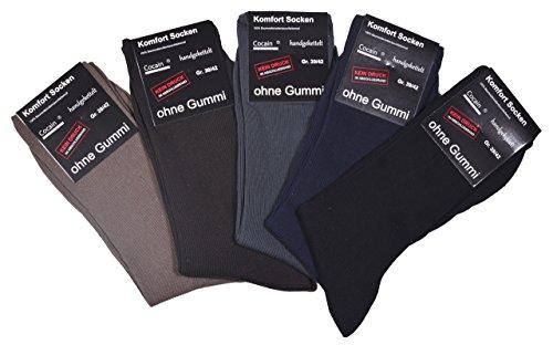 10 Paar unifarbige Herren oder Damen Socken ohne Gummi handgekettelt Grössen 35 bis 50 lieferbar, Dunkle Mischung, 35/38 -