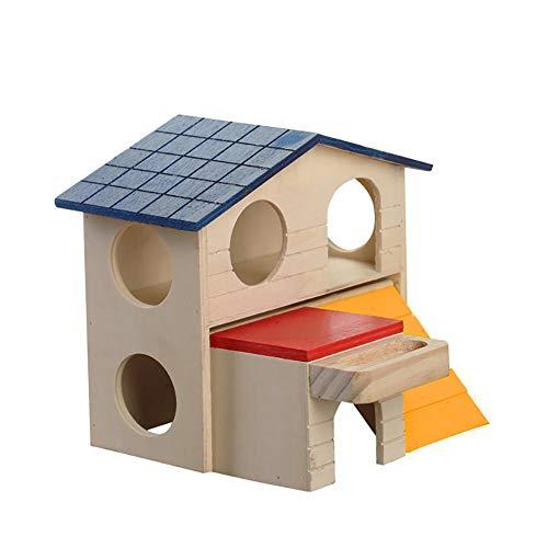strimusimak Schlafendes Hamsterhaus, Holz, mit Futtertrog, 2 Schichten