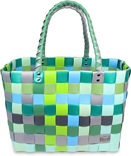 normani Einkaufskorb Shopper geflochten aus Kunststoff - robuster Strandkorb aus wasserabweisendem Material Farbe Classic/Raindrop